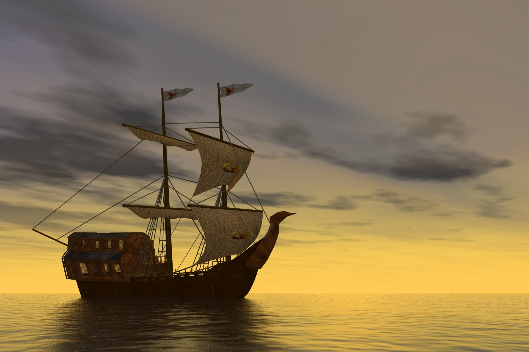 Vieux bateau - Vaisseau - Coucher soleil